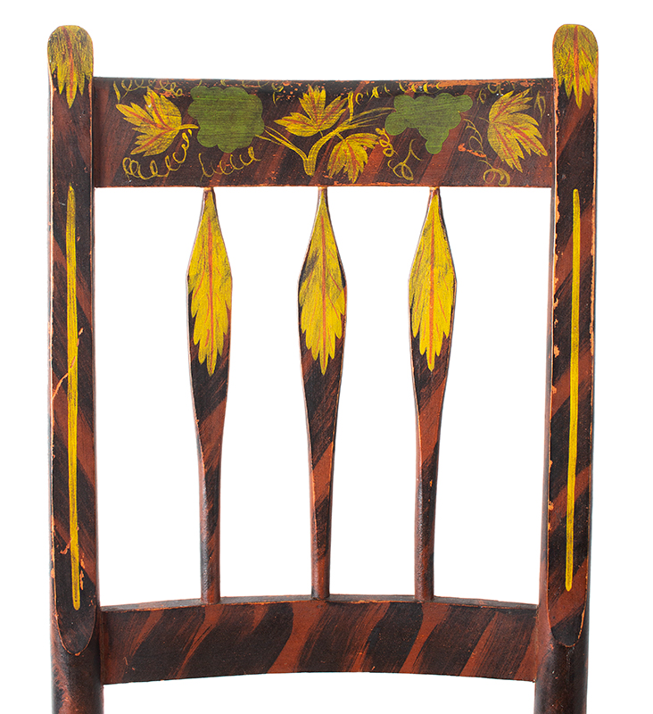Pair of Antique Folk Art Paint Decorated Country Sheraton Side Chairs, Thumb & Arrow Back           New England, Circa 1825-1835 Outstanding Freehand Decoration, Remarkable Condition, pair view