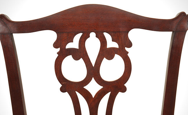 Antique Set of Six Chippendale Mahogany Side Chairs, Connecticut, Circa 1770 to 1790, crest detail