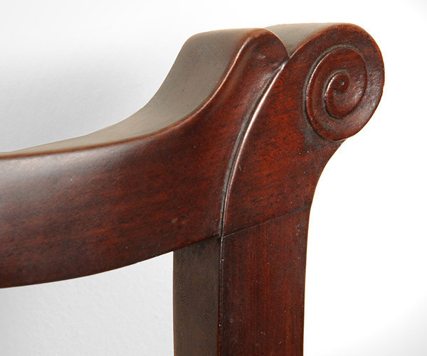 Antique Set of Six Chippendale Mahogany Side Chairs, Connecticut, Circa 1770 to 1790, ear detail
