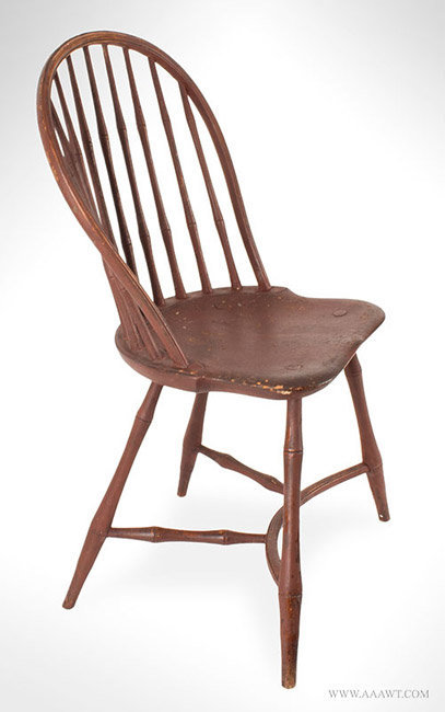 Antique Pair of Windsor Chairs with Yoke Form Stretcher, Circa 1800, single angle view
