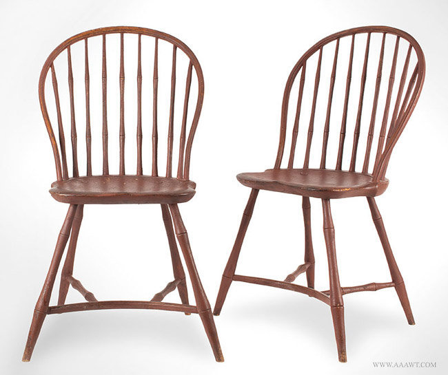 Antique Pair of Windsor Chairs with Yoke Form Stretcher, Circa 1800, pair view