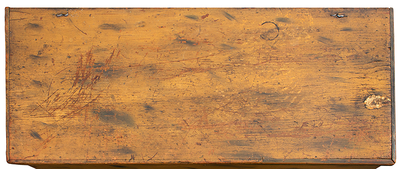 Period Paint Decorated 18th Century Blanket Chest with Drawer, Historic Surface New England, First-half 18th Century White pine, top view 1