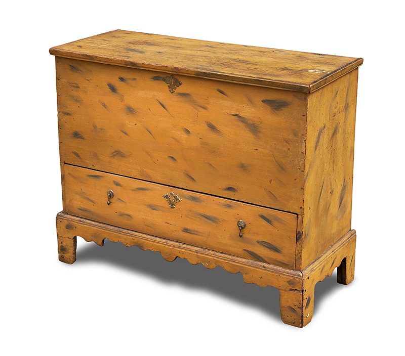 Period Paint Decorated 18th Century Blanket Chest with Drawer, Historic Surface New England, First-half 18th Century White pine, entire view 1