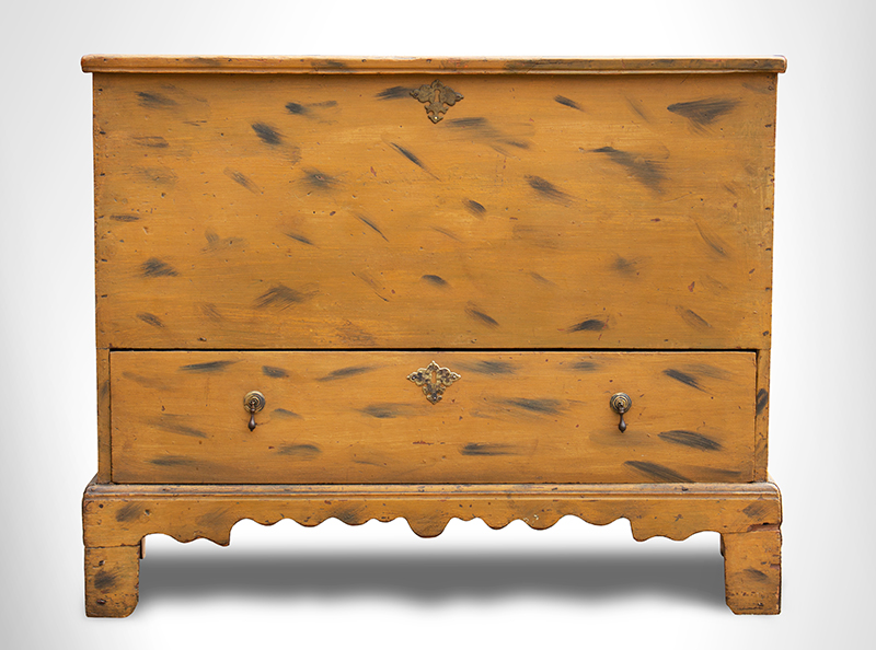 Period Paint Decorated 18th Century Blanket Chest with Drawer, Historic Surface New England, First-half 18th Century White pine, entire view 2