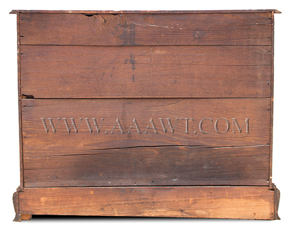 New England Chest, Four Drawer, Original Surface, and Brasses South Shore, Massachusetts, back view