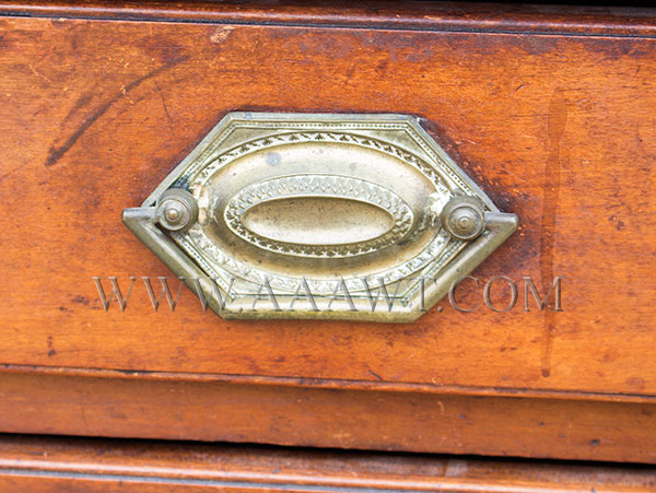 New England Chest, Four Drawer, Original Surface, and Brasses South Shore, Massachusetts, detail view