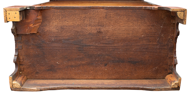 Period Tall Chest, Successful Proportions, Original Red Paint and Hardware Rhode Island or Eastern Connecticut, bottom view