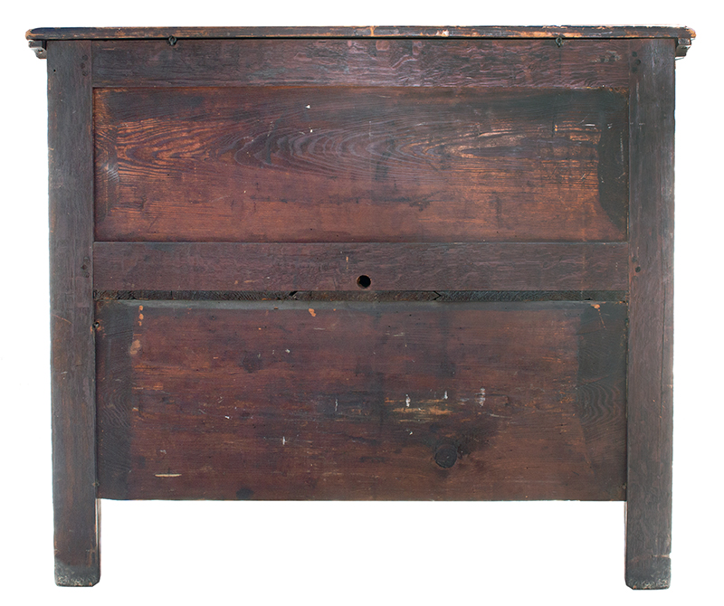 Extremely Rare, Important & Fine Carved & Joined Chest, Attributed to Peter Blin Wethersfield, Connecticut Circa 1670-1700 A rare and fine carved and joined oak and pine chest over two drawers, back view