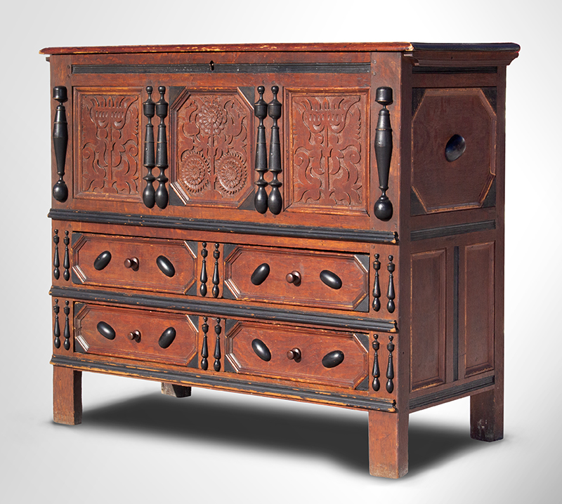 Extremely Rare, Important & Fine Carved & Joined Chest, Attributed to Peter Blin Wethersfield, Connecticut Circa 1670-1700 A rare and fine carved and joined oak and pine chest over two drawers, entire view 1