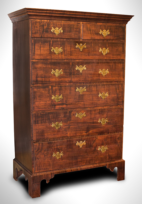 Rhode Island Tall Chest, Tiger Maple Drawer Fronts, Original Brasses, 7-Drawer Circa 1780, entire view