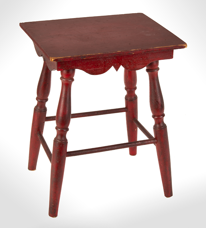 Antique Child's Table, Best Red Paint, Scalloped Apron, Turned Legs New England, circa 1900 Maple and pine, entire view 2