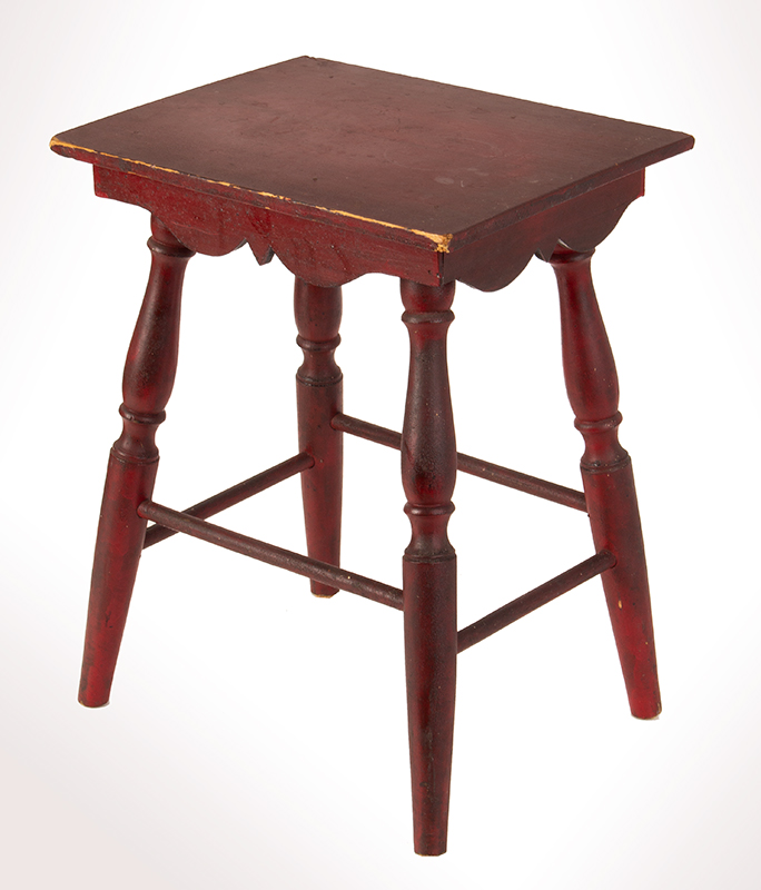 Antique Child's Table, Best Red Paint, Scalloped Apron, Turned Legs New England, circa 1900 Maple and pine, entire view 3