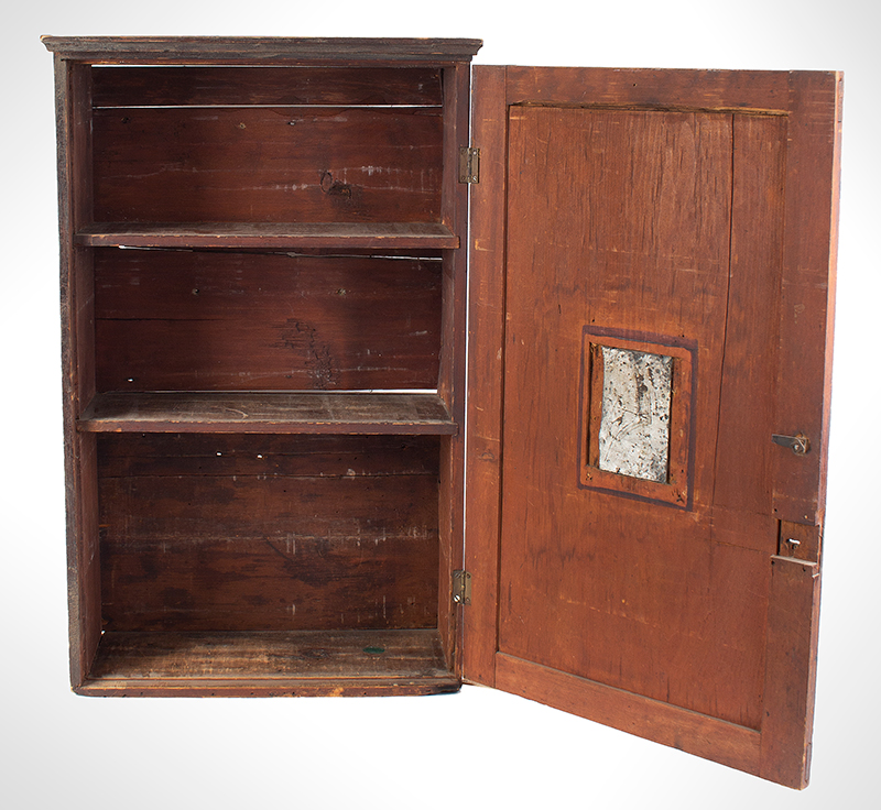 A Period Hanging Cupboard, Original Red Paint & Mirror Found in New York State 25-Years Ago, Circa 1800 White pine, interior view