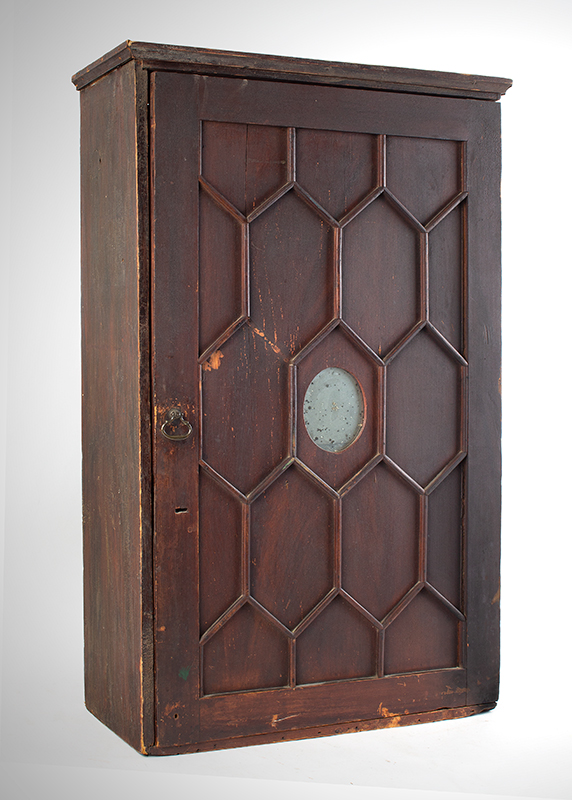 A Period Hanging Cupboard, Original Red Paint & Mirror Found in New York State 25-Years Ago, Circa 1800 White pine, entire view 2