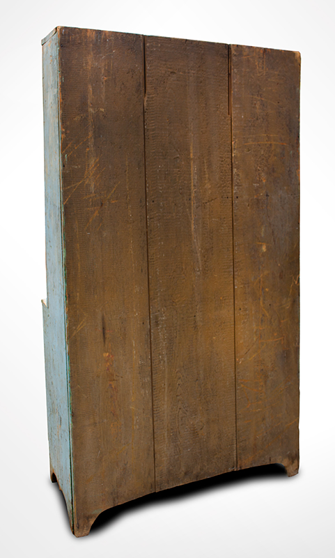 Antique, Canted Step Back Cupboard, Blue Paint New England, circa 1810 Pine, robust turned maple door pulls, back view