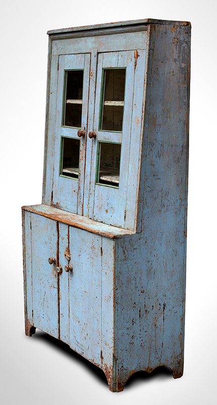 Antique, Canted Step Back Cupboard, Blue Paint New England, circa 1810 Pine, robust turned maple door pulls, entire view 2a