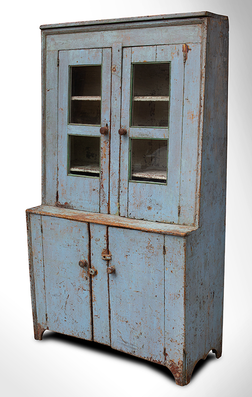 Antique, Canted Step Back Cupboard, Blue Paint New England, circa 1810 Pine, robust turned maple door pulls, entire view 3