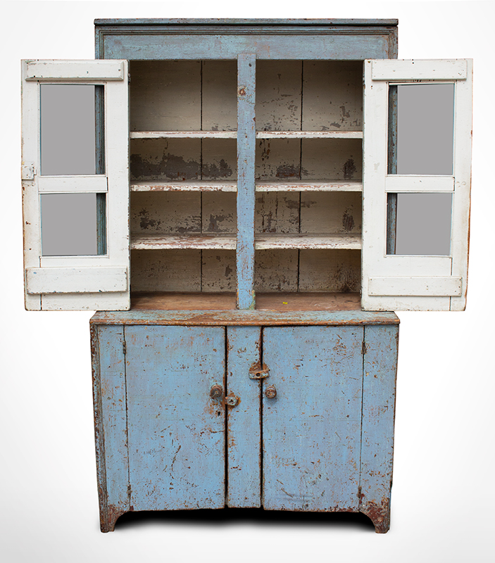 Antique, Canted Step Back Cupboard, Blue Paint New England, circa 1810 Pine, robust turned maple door pulls, entire view 4