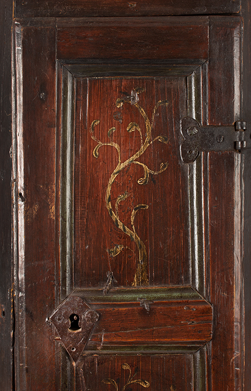 Antique Hanging Corner Cupboard, Paneled & Molded, Great Color & Patina England, Circa 1670 Pine, original surface and hardware, paint decorated door, rich patina and color, door detail