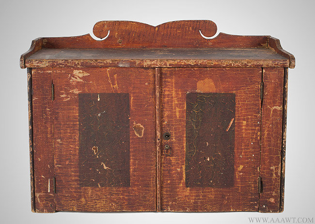 Antique Paint Decorated Hanging Cupboard with Shaped Galley, Vermont, entire view