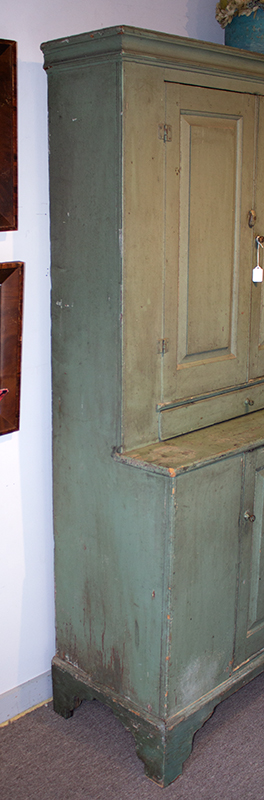 Antique Step-back Cupboard in Historic Surface, Raised Panel Doors, Small Size New England, Likely Maine or New Hampshire, circa 1780-1820 Basswood, very early sage green paint over gray over red, side 1
