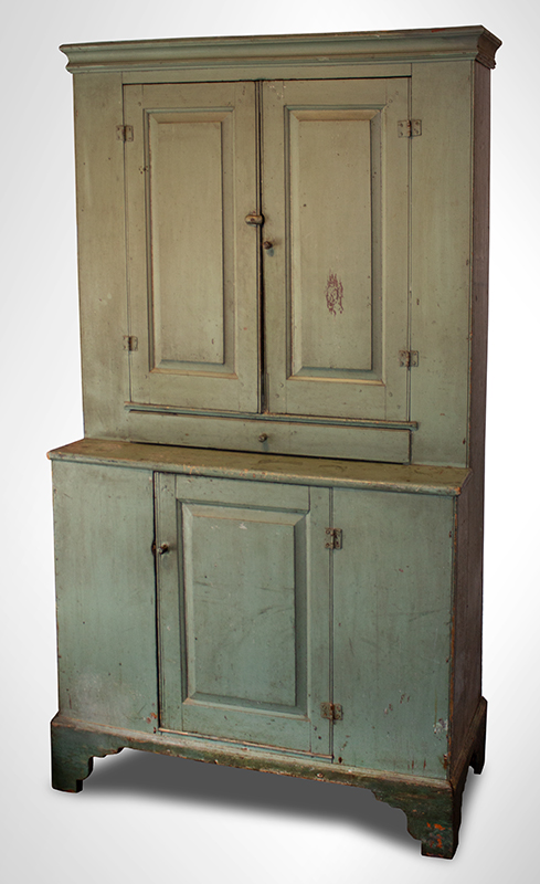 Antique Step-back Cupboard in Historic Surface, Raised Panel Doors, Small Size New England, Likely Maine or New Hampshire, circa 1780-1820 Basswood, very early sage green paint over gray over red, entire view 1