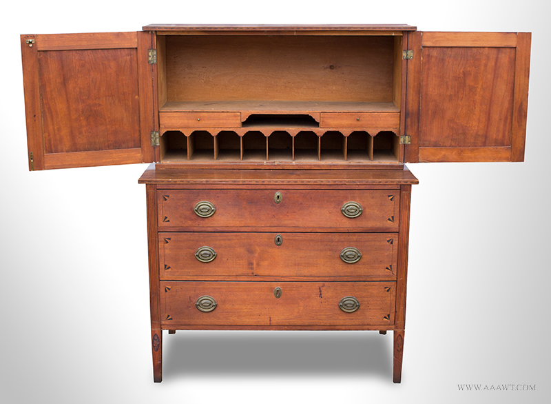 New Hampshire Bookcase on Three-Drawer Chest, Superbly Inlaid, Original Brasses Fan Inlaid Secretary Bureau…Inlays possibly by William Lloyd of Springfield, MA, entire view 2
