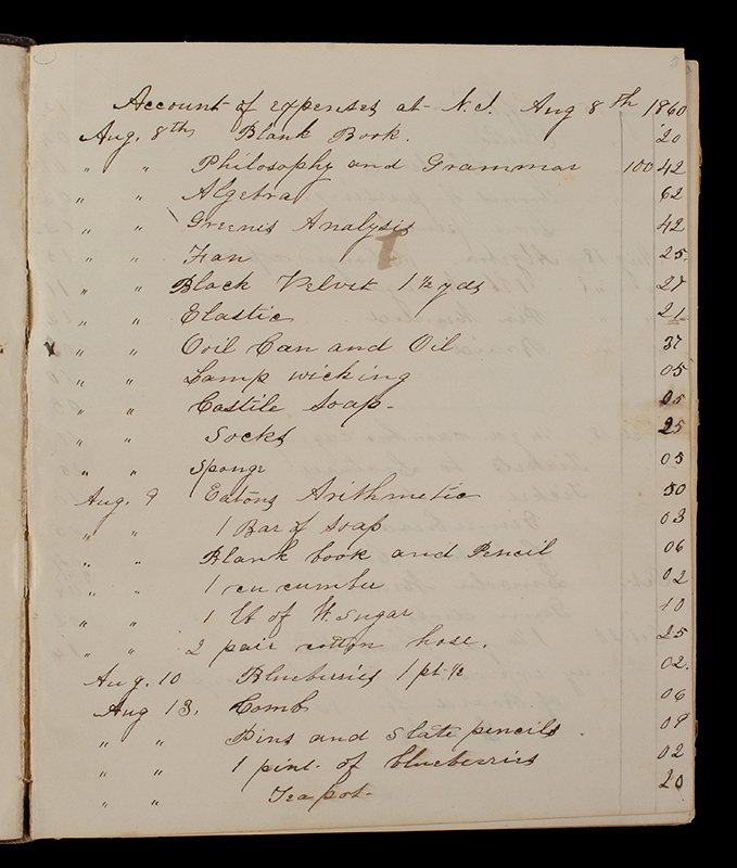 New Ipswich New Hampshire Account Book-Daybook, Louise M Abbot, detail view 2