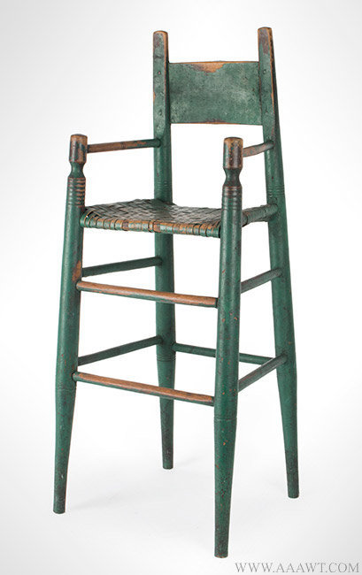 Antique High Chair with Original Surface History, 19th Century, angle view