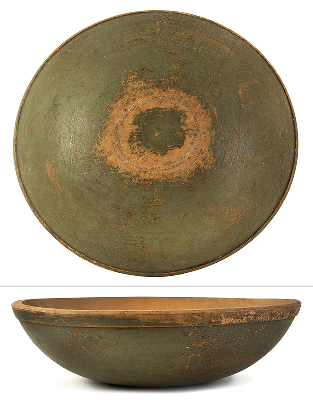 Maple Bowl In Original Sage Green Paint, entire view