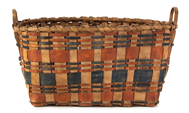 Native American Ash Splint Basket, Indigo and Clay Red Paint, Notched Handles, entire view