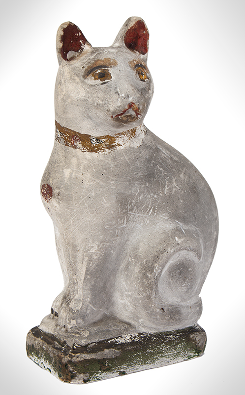 Chalkware Cat, Paint Decorated, Hollow, entire view