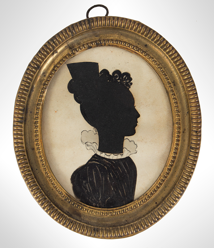 Oval Silhouette of Woman in Frilly Collar, entire view