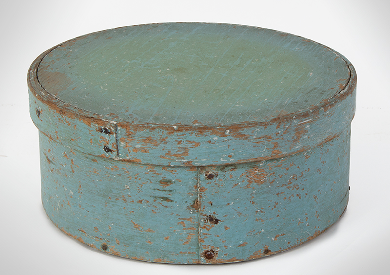 Pegged and Tacked Robin's Egg Blue Pantry Box in Dry Surface, entire view