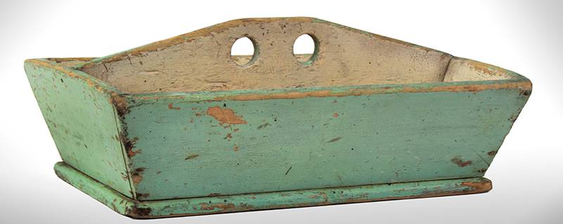 Footed Light Green Carrier with Cream Colored Interior, Dry Surface, entire view