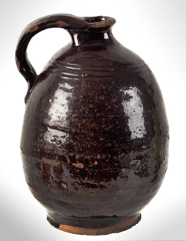 Redware Jar, Ovoid, with Handle, entire view