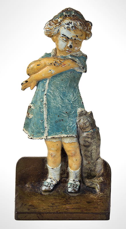 """Rare Doorstop- """"Girl getting scratched by a Cat"""" by CJO (JODD Co.), entire view"""