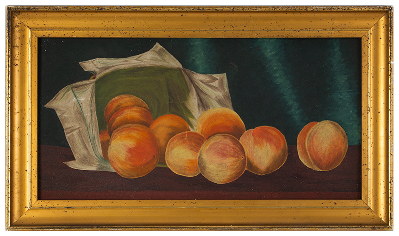 """Oil on Artist Board, """"Tumbling Peaches from a Basket"""", in a Period Gilt Frame, entire view"""
