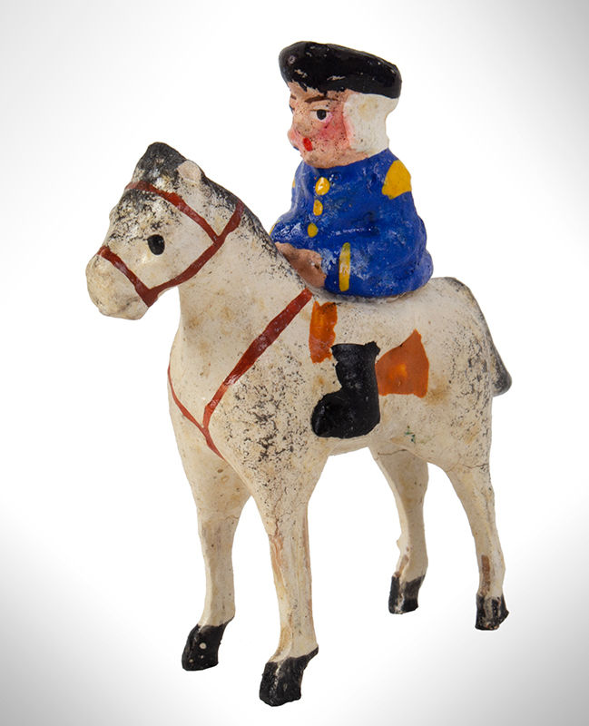 Carved Wooden Miniature George Washington on Horseback, Stamped Germany, entire view