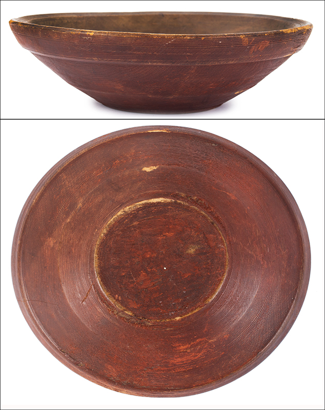 Turned, Out of Round Bowl in Red, entire view