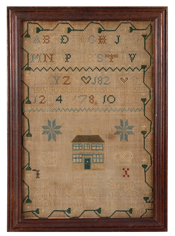 """Sampler- Emma Spring- """"finish September the 21 1828 in the 7 year of her age"""", entire view"""