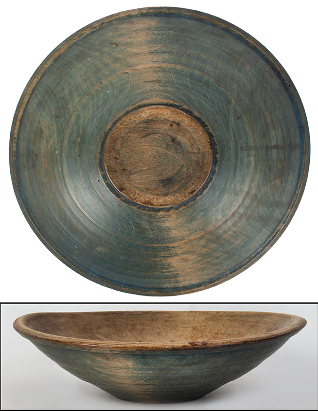 Blue Beehive Bowl with Great Wear, entire view