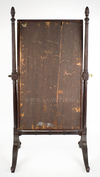 American Looking Glass on Stand, Cheval Glass, back view