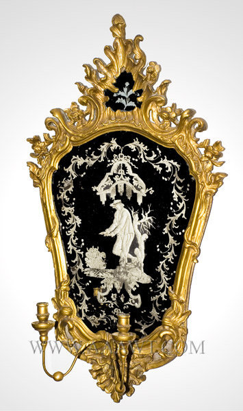 Mirror, Rocaille Carved and Pierced Giltwood with Girandole, Etched Glass Outstanding engraved plate featuring gentleman warmed by fire Continental 18th Century, entire view
