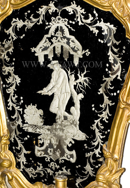 Mirror, Rocaille Carved and Pierced Giltwood with Girandole, Etched Glass Outstanding engraved plate featuring gentleman warmed by fire Continental 18th Century, detail view