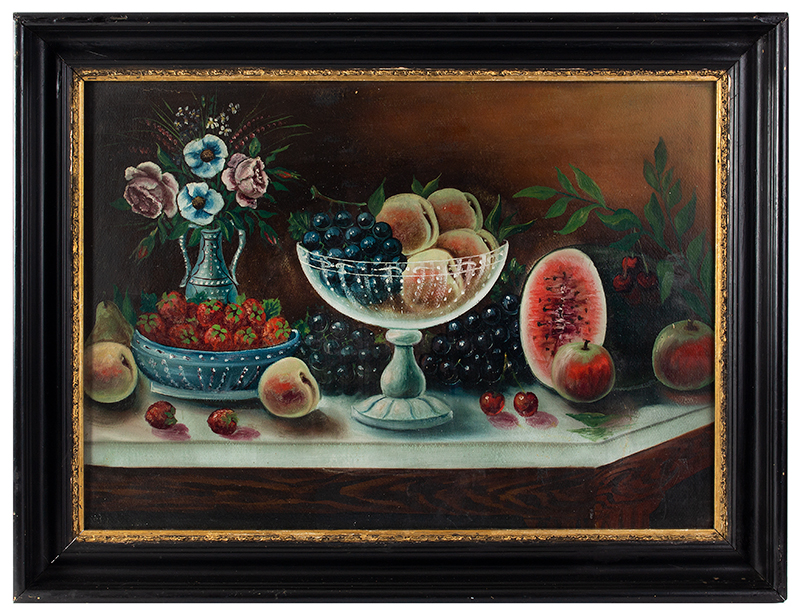 Victorian Still Life Painting, Bountiful Fruits & Floral Arrangement on Sideboard American School, Victorian…, entire view 1
