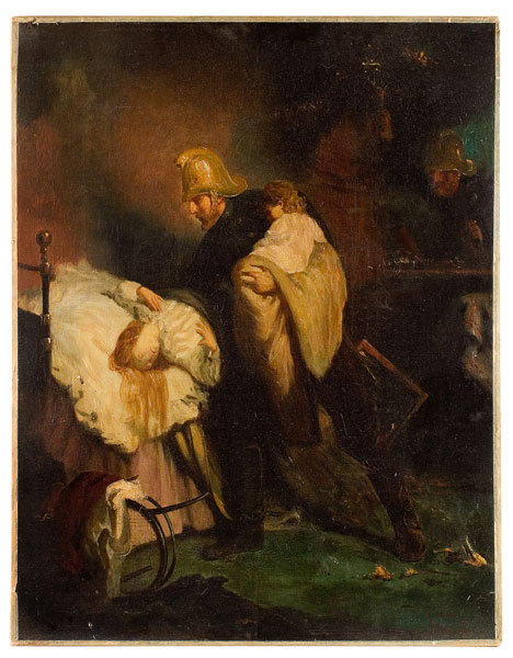 Painting, Fireman Rescuing Mother and Child, European, Iledgeable Signature, entire view