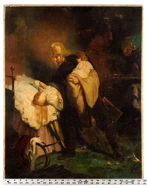 Painting, Fireman Rescuing Mother and Child, European, Iledgeable Signature, scale view