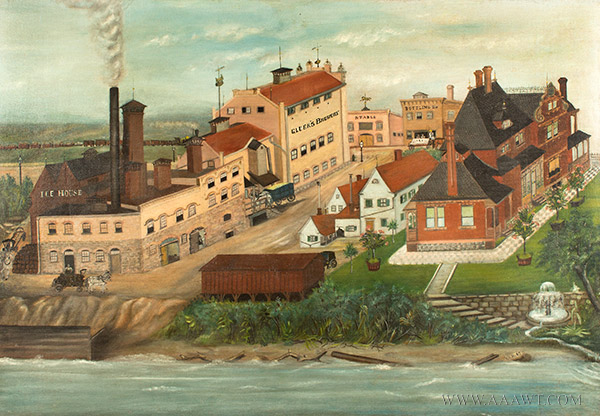 Nineteenth Century Painting, Gluek's Brewery, Minneapolis Signed and Dated ''G.S.K.'89'' at Lower Right, entire view sans frame