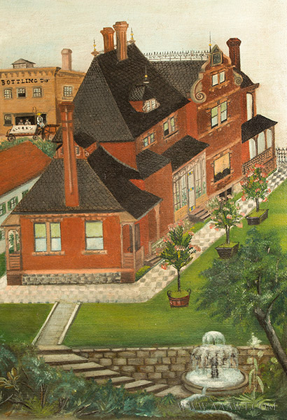 Nineteenth Century Painting, Gluek's Brewery, Minneapolis Signed and Dated ''G.S.K.'89'' at Lower Right, detail view 1